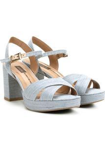 Sandália Dakota Salto Grosso Jeans Tiras Cruzadas Feminina - Feminino-Azul Claro