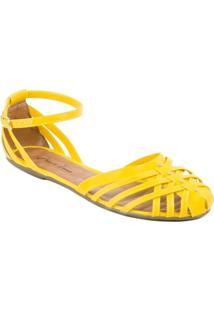 Sandália Maria Terra Rasteira Com Alça Amarelo 39
