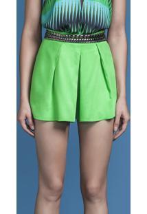 Shorts Cintura Alta Com Pregas Verde - Lez A Lez