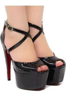 Sandália Zariff Shoes Meia Pata Verniz - Feminino-Preto