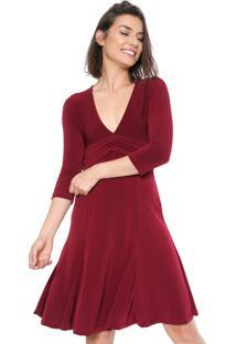Vestido Mercatto Curto Faixa Vinho