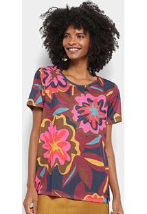 Camiseta Cantão Local Floral Bold Feminina - Feminino-Marinho+Pink