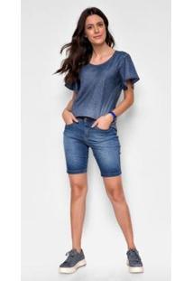 Bermuda Jeans Zait Pedal Stela Feminina - Feminino-Azul