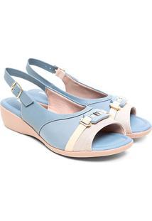 Sandália Piccadilly Bicolor Feminina - Feminino-Azul Claro