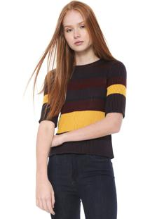 Blusa Calvin Klein Jeans Listras Preto