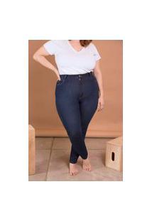Calça Jeans Skinny Comfort Cintura Alta Plus Size Azul Escuro