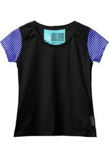 Camiseta Baby Look Feminina Algodão Estampa Xadrez Casual - Feminino-Azul+Preto