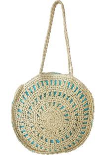 Bolsa Bag Dreams Redonda Em Palha Azul.