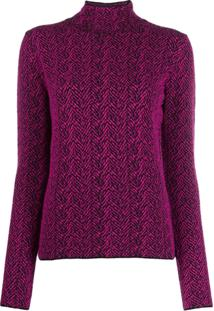 Versace Chevron Knitted Jumper - Roxo