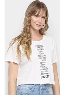Camiseta Cropped Colcci Estampada Feminina - Feminino-Off White