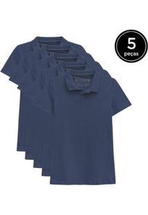 Kit 5 Camisas Polo Basicamente Feminino - Feminino-Azul Escuro