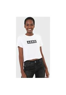 Camiseta Cropped Aeropostale Logo Off-White