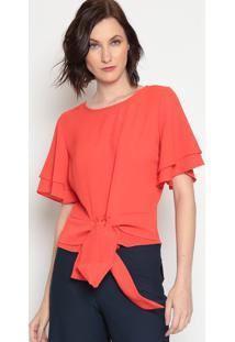Blusa Texturizada Com Amarração - Vermelha- Moiselemoisele