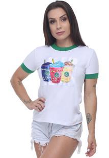 T-Shirt Tee Fashion Patche Milk Shake Branco