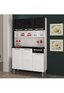 Cozinha De Aço Compacta Rose 6 Portas Branco/Preto - Itatiaia