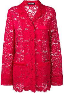 Dolce & Gabbana Jaqueta De Renda - Vermelho