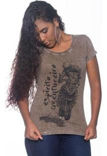 Camiseta Moto Lovers Espirito Aventureiro Feminina - Feminino-Marrom