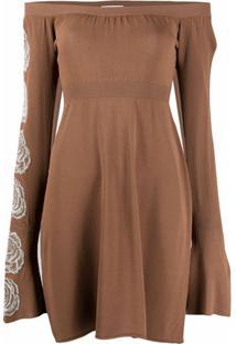 Antonella Rizza Fine-Knit Off-Shoulder Dress - Marrom