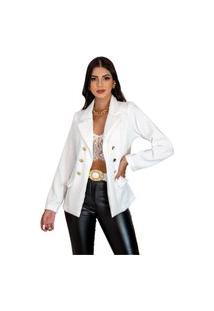 Blazer Botões Dourados Feminino Estilo Balmain Top Qualidade Acinturado Moderna Branco