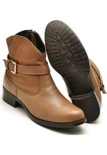 Bota Montaria Country Top Franca Shoes Feminina - Feminino-Caramelo