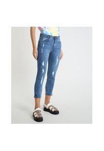 Calça Jeans Feminina Skinny Cintura Alta Destroyed Azul Médio
