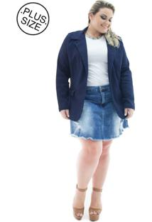 Blazer Jeans Feminino Alongado Com Elastano Plus Size