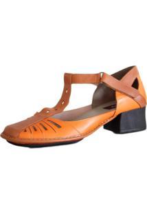 Sapato Boneca Salto Grosso Quadrado Estilo Retrô Vintage Laranja
