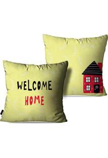 Kit Com 2 Capas Para Almofadas Pump Up Decorativas Amarelo Claro Welcome Home 45X45Cm - Amarelo - Dafiti
