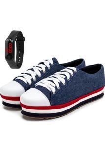 Kit Tênis Casual Flat Form Tecido Jeans Feminino Conforto E Relógio