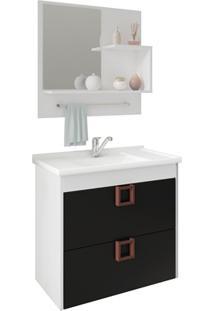 Gabinete Suspenso Para Banheiro Lírio Com Espelho 59X35,5Cm Branco E Preto