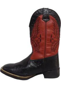 Bota Prata Couro Texana Masculina - Masculino-Preto+Vermelho