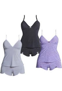 Kit Com 3 Baby Dolls Polo Match Feminino - Feminino-Branco+Preto