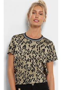 Camiseta Colcci Lurex Estampada Feminina - Feminino-Preto