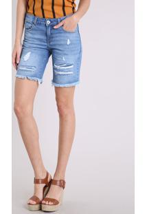 Bermuda Jeans Feminina Destroyed Azul Médio