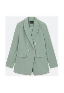 Blazer Alongado Em Alfaitaria Com Botões Metálicos | A-Collection | Verde | 42