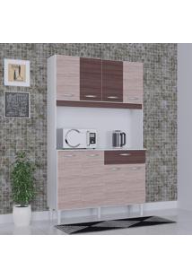 Cozinha Compacta 8 Portas 1 Gaveta Kit Cássia 6171 Amêndoa/Capuccino - Poquema
