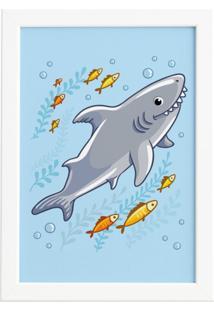 Quadro Infantil Shark Tubarão Moldura Branca 22X32Cm