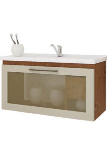 Gabinete Suspenso Para Banheiro Hibisco 44X79,3Cm Amêndoa E Off White