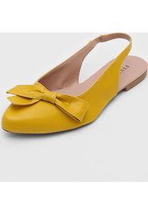 Sapatilha Fiveblu Slingback Laço Amarela