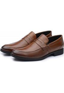 Sapato Social Masculino Couro Liso Hidha - Masculino-Marrom