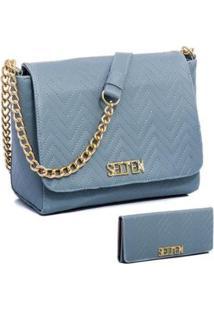 Kit Bolsa Selten Lateral Com Carteira Feminina - Feminino-Azul Claro