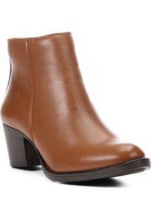 Bota Couro Cano Curto Shoestock Salto Confort Feminina - Feminino