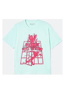 Blusa Oversized Alongada Estampa Pink E Cérebro Texturizada | Animaniacs | Verde | P