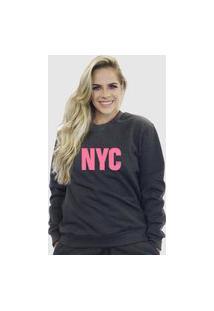 Blusa Moletom Feminino Moleton Básico Suffix Cinza Escuro Estampa New York City Rosa Bebe