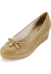 Sapato Sense Anabela Af18-2235 Bege - Kanui