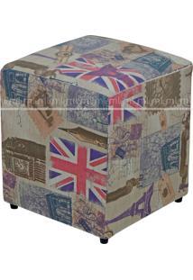 Puff Quadrado Decorativo Tecido Linho London 687 Lymdecor Colorido