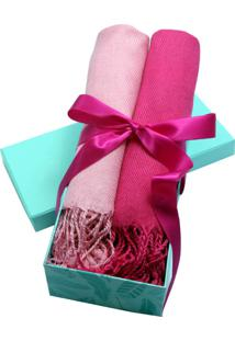 Kit Presente Pashminas Smm Acessórios Rosa