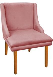 Cadeira Poltrona Decorativa Liz Suede Rose - D'Rossi