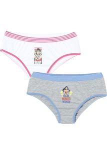 Kit De Calcinhas Boneca Wonder Woman™- Cinza & Branco