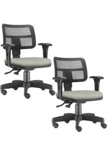 Kit 02 Cadeiras Giratórias Lyam Decor Zip Suede Bege